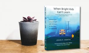potted bland with book ''when bright kids can't learn""